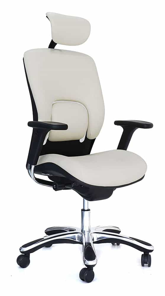 White Real Leather Office Chairs