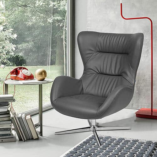 Flash Furniture Gray LeatherSoft Swivel Wing Chair